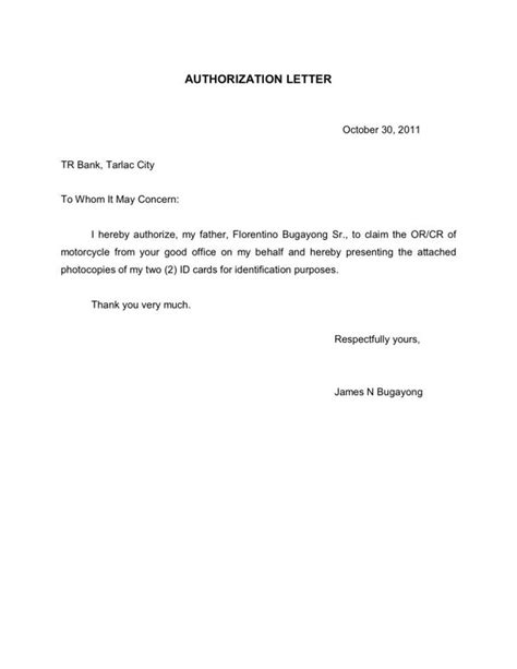 authorization letter for quit claim sle passport authorization letter authorization