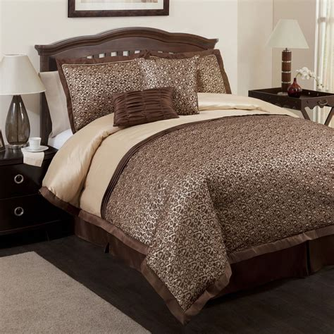 brown king comforter triangle home fashions leopard brown 6 piece comforter set