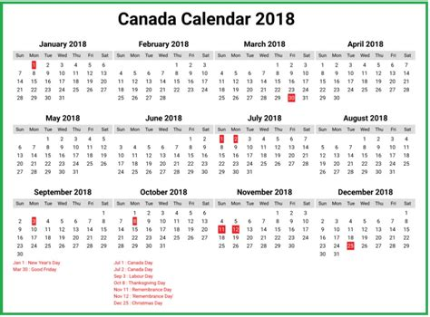 Canada 2018 Calendar Canada Calendar 2018 Calendar 2018
