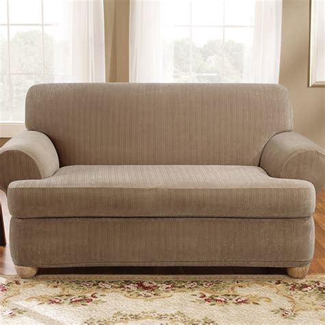 t cushion loveseat slipcover two piece sure fit stretch pinstripe 2 piece t cushion loveseat