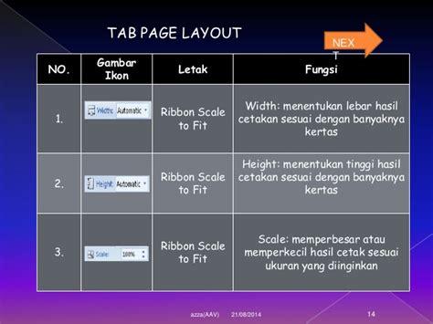 fungsi layout page setup tugas tik microsoft excel azza