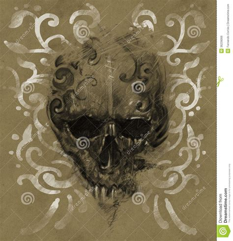 tattoo skull over vintage paper white tribals design