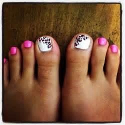 pink and white leopard pink toe nail art cute girly nail