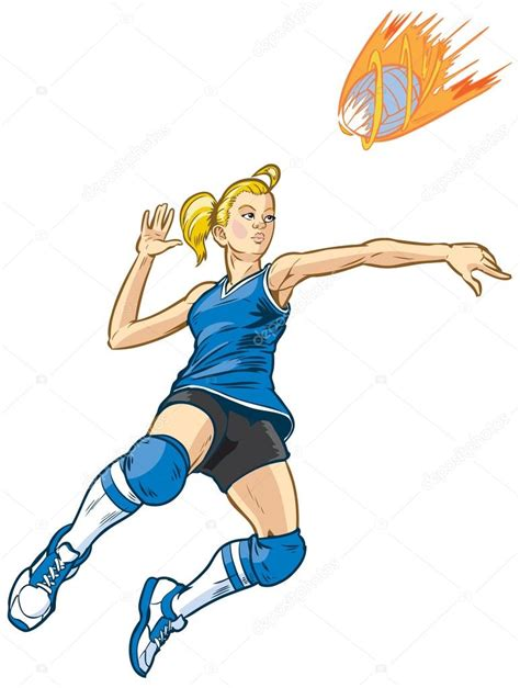 clipart pallavolo ragazza fumetto giocatore di pallavolo di salto