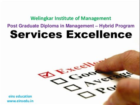 Mba In Welingkar Institute Of Management by Distance Mba In Services Excellence From Eins Education