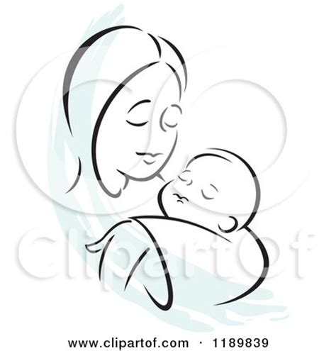 Picture Wall Decor Black And White Sketch Of A Loving Mother Holding A Baby