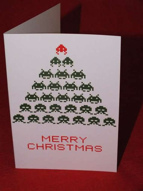 joyous  bit  space invaders christmas card
