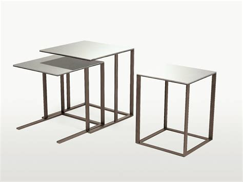 modular square mirrored glass coffee table elios