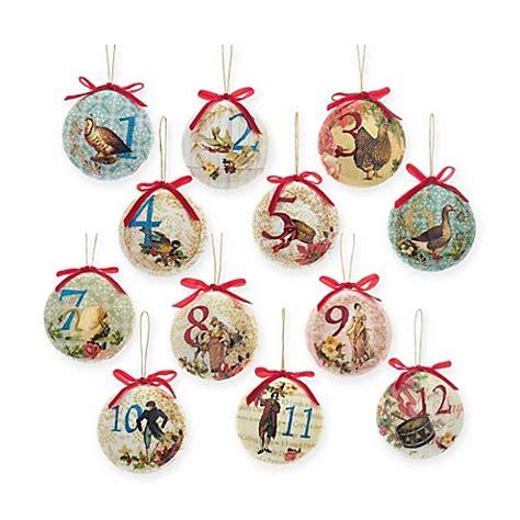 twelve days of christmas ball ornament kurt adler 85mm decoupage ornaments set of 12 bed bath beyond