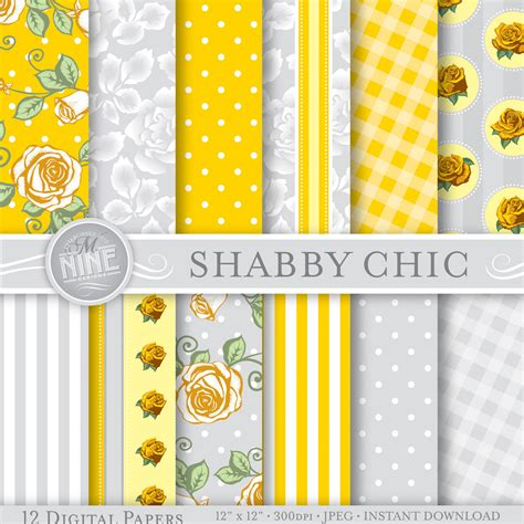 shabby chic digital paper yellow grey shabby chic printable