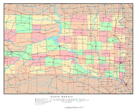 printable south dakota road map large detailed administrative map of south dakota with