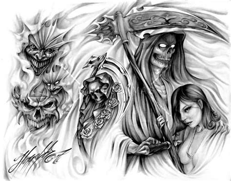 evil girl tattoo designs grim reaper and evil design