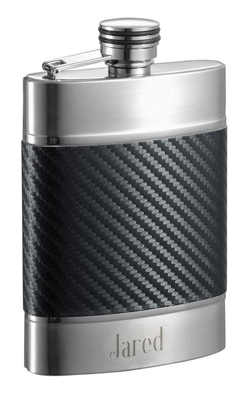 engraving carbon fiber visol premium carbon fiber patterned liquor flask with
