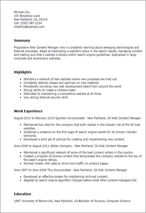 format and content of resume 1 web content manager resume templates try them now