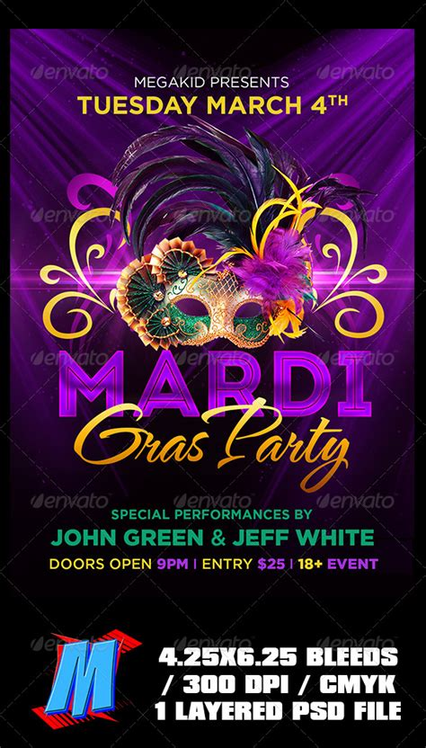 Mardi Gras Party Flyer Template By Megakidgfx Graphicriver Mardi Gras Flyer Template Free