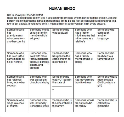 microsoft word bingo template sle blank bingo 8 documents in word pdf