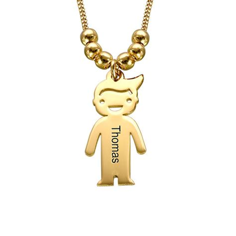 gold plated s necklace with children charms