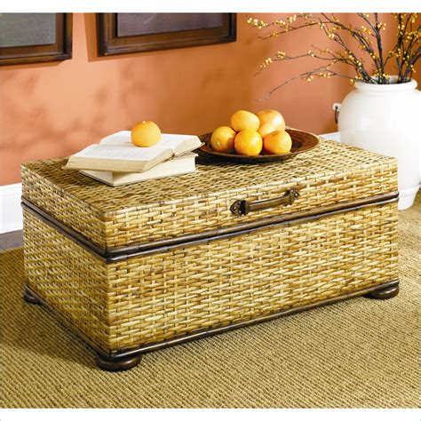 treasures woven rattan trunk coffee table in light