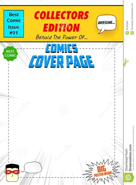 comic book cover stock vector illustration of book