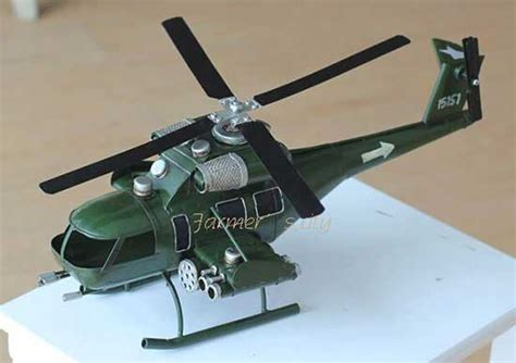 Handmade Helicopter Models - large scale handmade army green tinplate attack helicopter