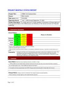 monthly status report template project management project status report template affordablecarecat
