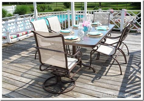 painting patio furniture how to paint outdoor furniture with sling seats inmyownstyle