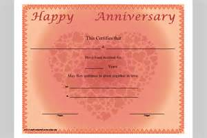 Anniversary Certificate Template anniversary certificate template printable wedding