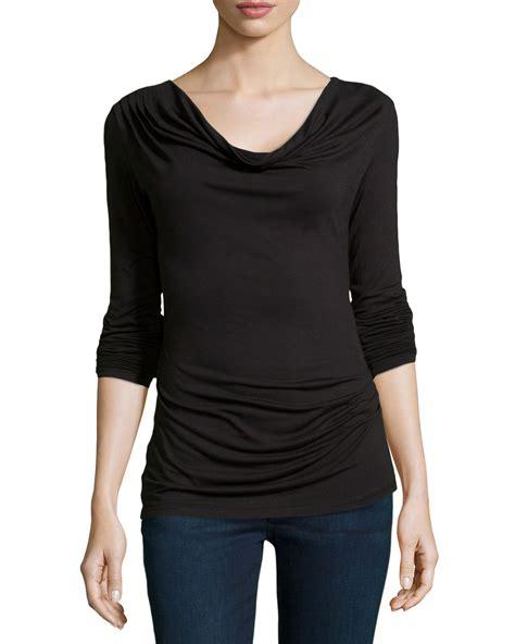 draped cowl neck top max studio cowl neck draped jersey top in black lyst