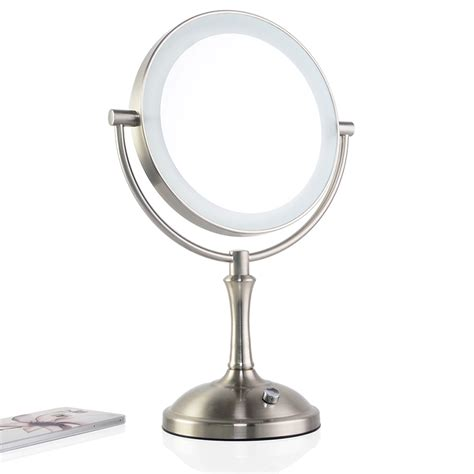 double sided bathroom mirror touch dimmer led makeup mirror lighted 3x magnifying