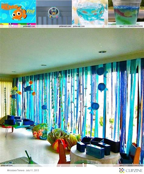 themed party jobs fish print curtain ideas and streamers on pinterest