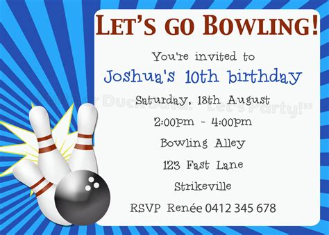 bowling birthday invitation templates duck said quot lets quot ten pin bowling