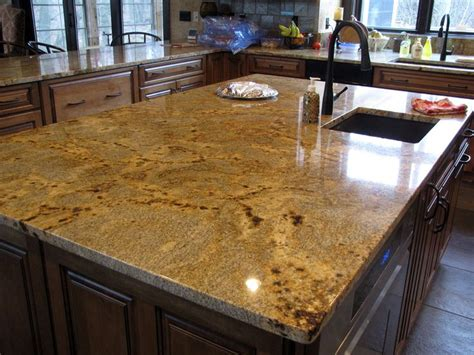 Crystals Kitchen by Golden Granite With Square Polished Edge Custom