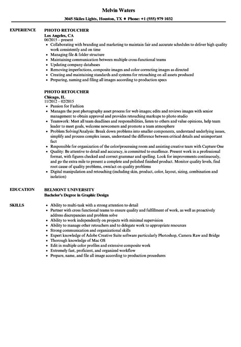 photo retoucher resume sle photo retoucher resume