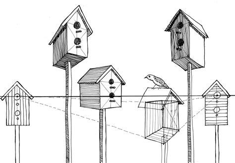 bird in the house bird in bird house drawing