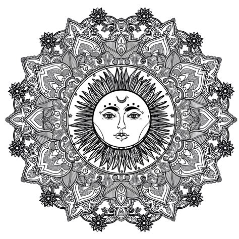 sun mandala coloring pages mandala complex sun 123rf difficult mandalas for adults