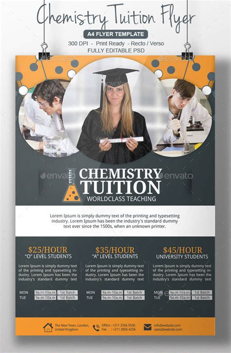 Chemistry Tutor Flyer Template By Blogankids Graphicriver Tutoring Flyer Template Sle