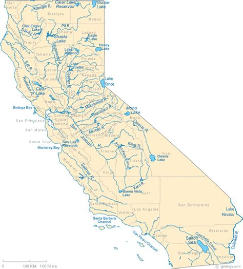 salinas river california map california lakes and rivers map california rivers shown