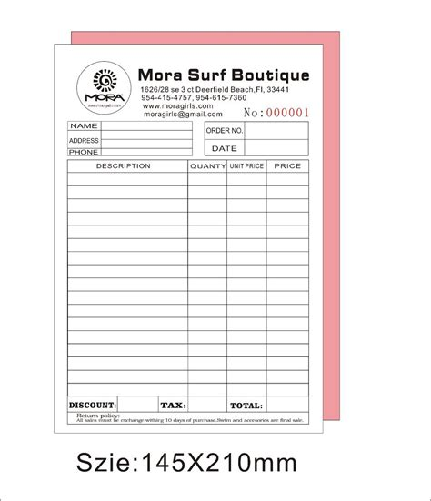 invoice book template invoice books printing