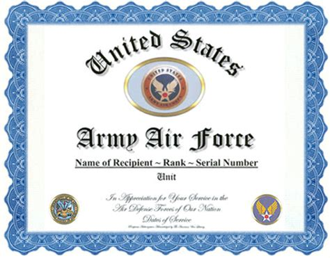 air certificate of appreciation template army air corps army air service appreciation recognition