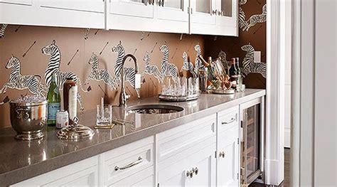 wallpaper kitchen backsplash how to use wallpaper as a kitchen backsplash purewow