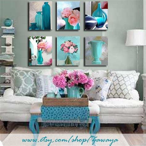 turquoise home decor accents turquoise and pink home decor ready to hang painting by
