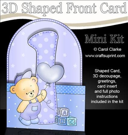 3d 1st birthday teddy shaped front card with decoupage