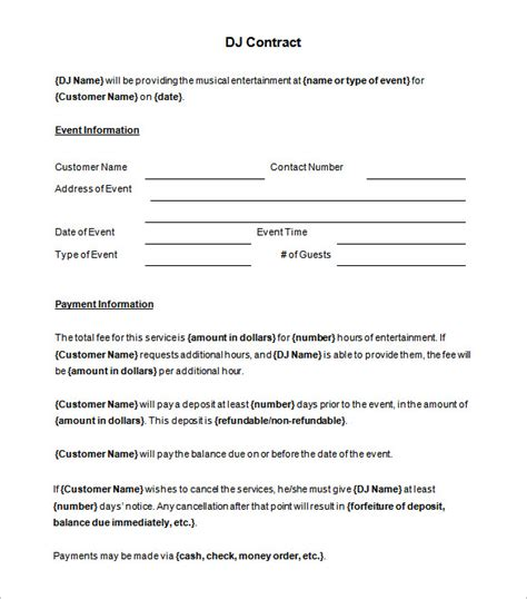 contract templates brilliant dj contract template sle with blank event
