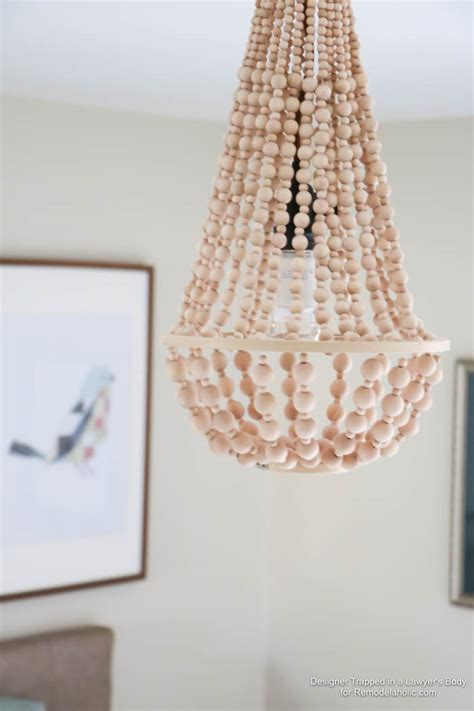 diy bead chandelier remodelaholic how to make a wood bead chandelier