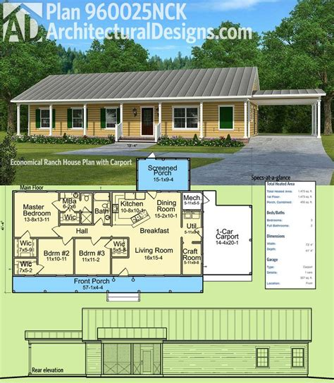 Basic Ranch House Plans by Plan 960025nck Economical Ranch House Plan With Carport