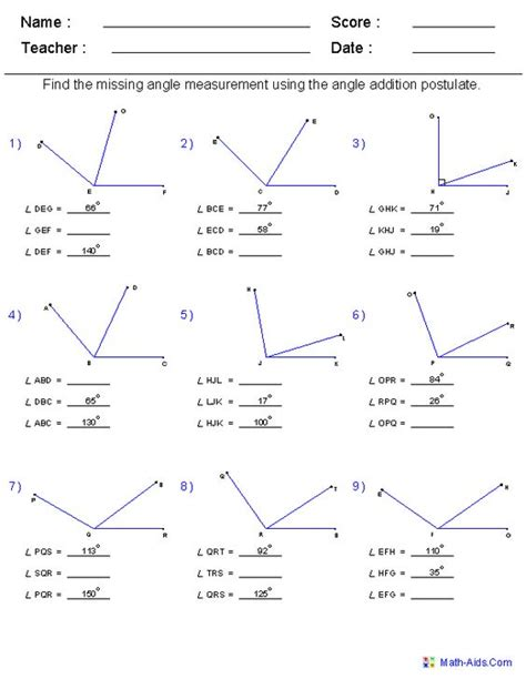 angle addition postulate worksheet answers segment
