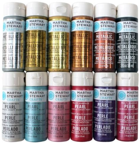 martha stewart crafts multi surface acrylic craft paint set 2 ounce promomet prl metallic and