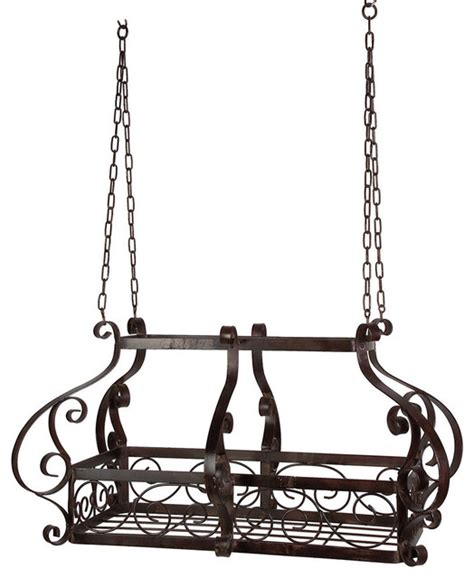 Pull Out Hanging Pot Rack by Shop Houzz Fastfurnishings Brow Scrolling Metal