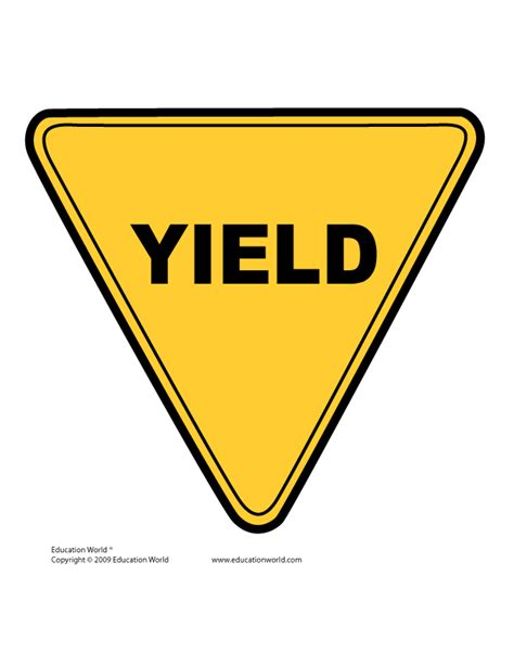 yield sign color tools templates gt traffic signs education world