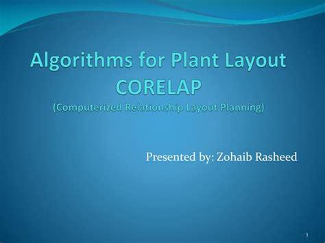 plant layout ppt presentation ppt algorithms for plant layout corelap computerized